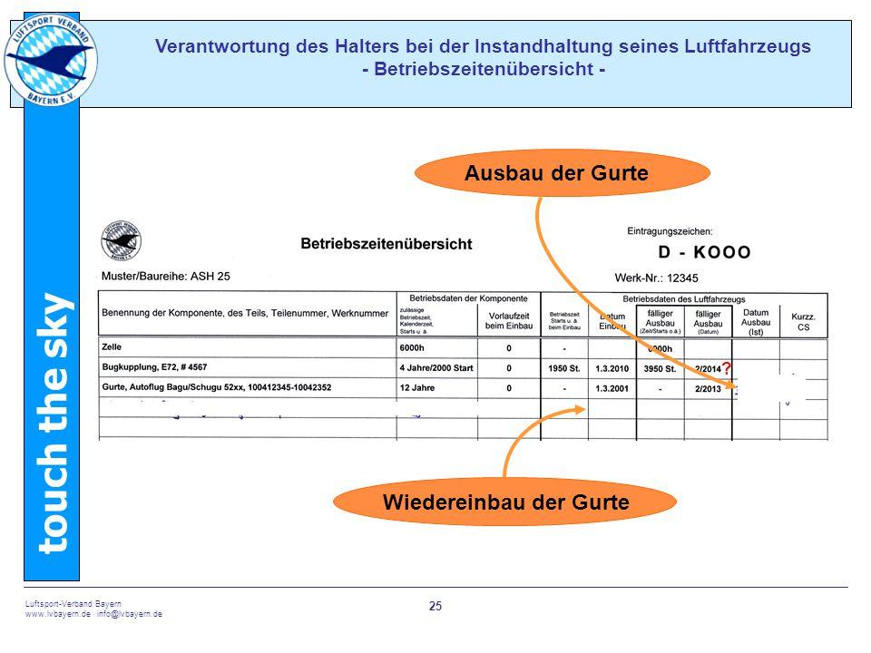 touch the sky Luftsport-Verband Bayern www.lvbayern.de info@lvbayern.de 25 Verantwortung des Halters bei der Instandhaltung seines Luftfahrzeugs - Bet
