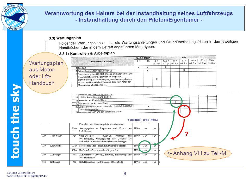 touch the sky Luftsport-Verband Bayern www.lvbayern.de info@lvbayern.de 6 Verantwortung des Halters bei der Instandhaltung seines Luftfahrzeugs - Instandhaltung durch den Piloten/Eigentümer - .