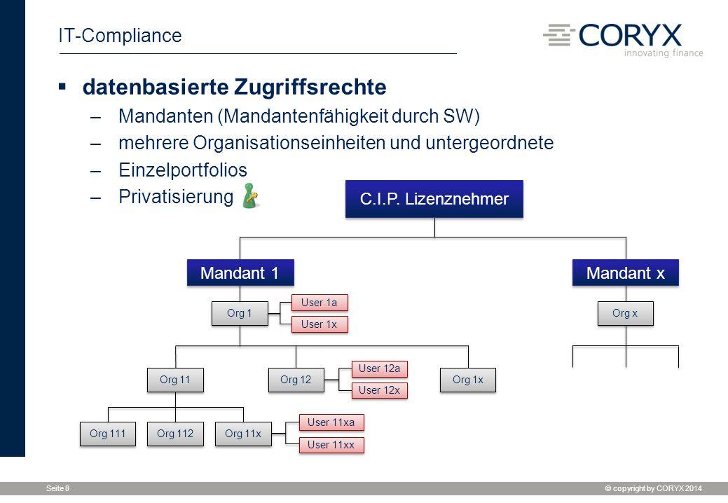 © copyright by CORYX 2014 Seite 8 IT-Compliance Org 111 Org 1 User 1a User 1x User 12a Org 112 Org 11x User 11xa User 11xx Org x Mandant 1 Mandant x C