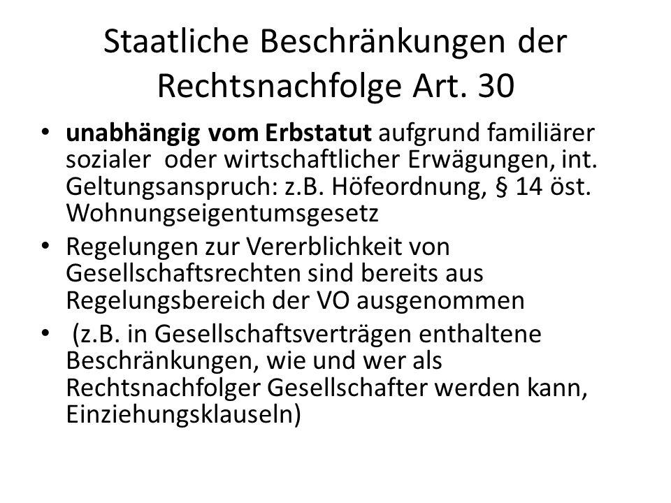Staatliche Beschränkungen der Rechtsnachfolge Art.