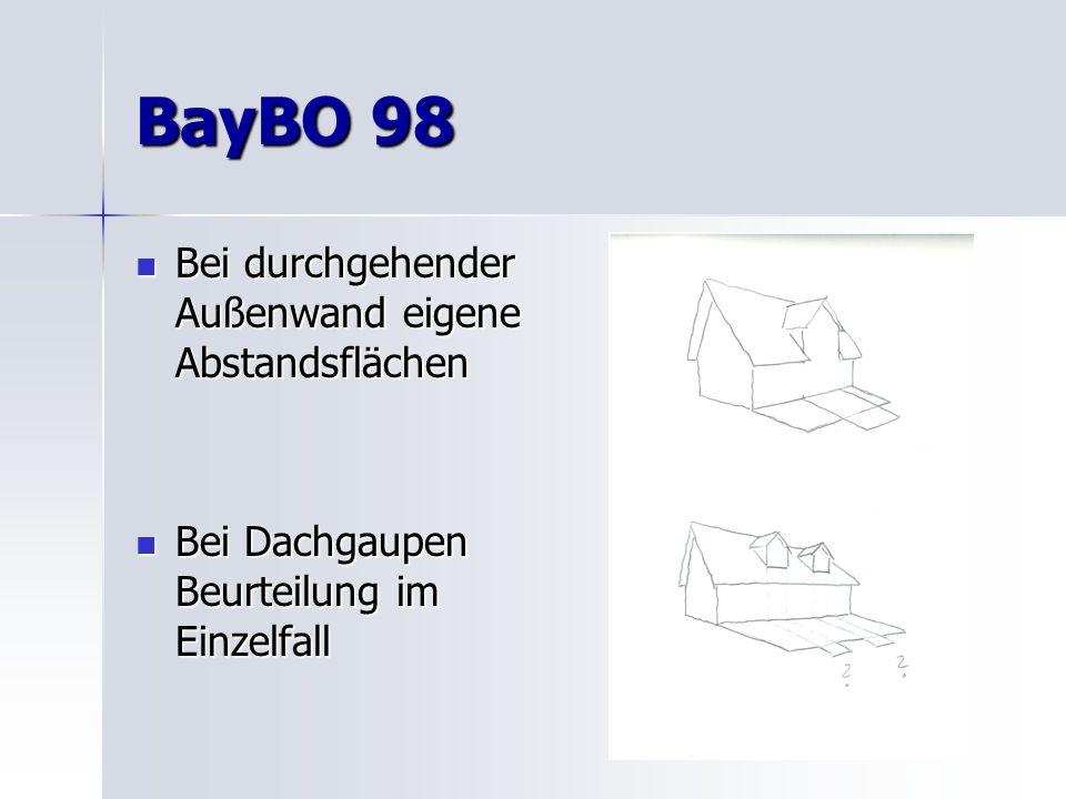 BayBO 98 Bei durchgehender Außenwand eigene Abstandsflächen Bei durchgehender Außenwand eigene Abstandsflächen Bei Dachgaupen Beurteilung im Einzelfall Bei Dachgaupen Beurteilung im Einzelfall