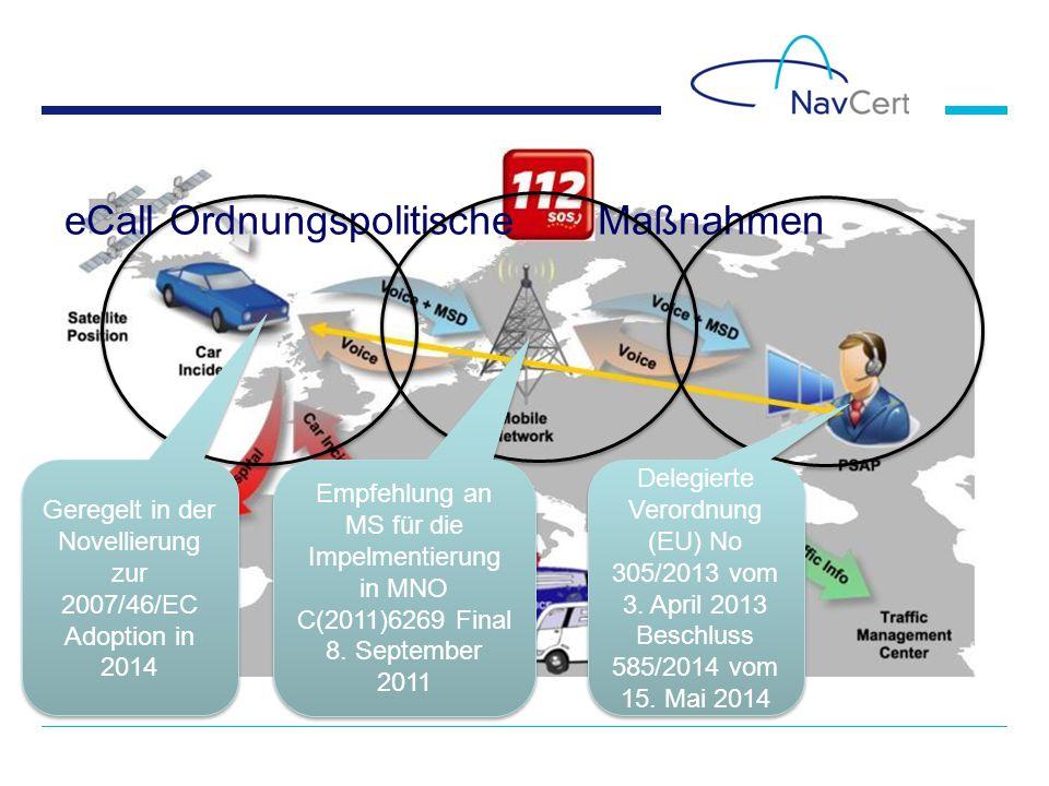 eCall Ordnungspolitische Maßnahmen Geregelt in der Novellierung zur 2007/46/EC Adoption in 2014 Empfehlung an MS für die Impelmentierung in MNO C(2011