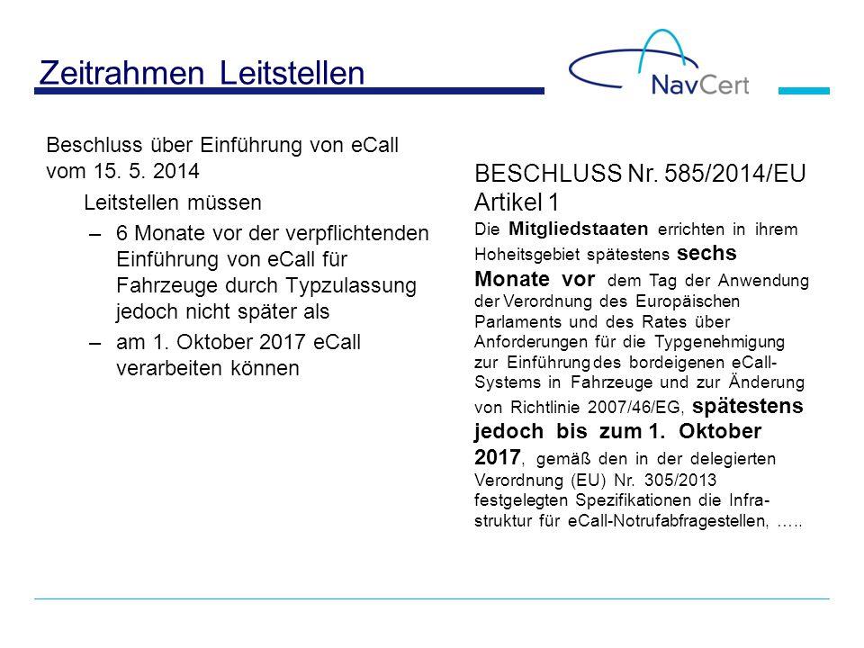 Zeitrahmen Leitstellen Beschluss über Einführung von eCall vom 15. 5. 2014 Leitstellen müssen –6 Monate vor der verpflichtenden Einführung von eCall f