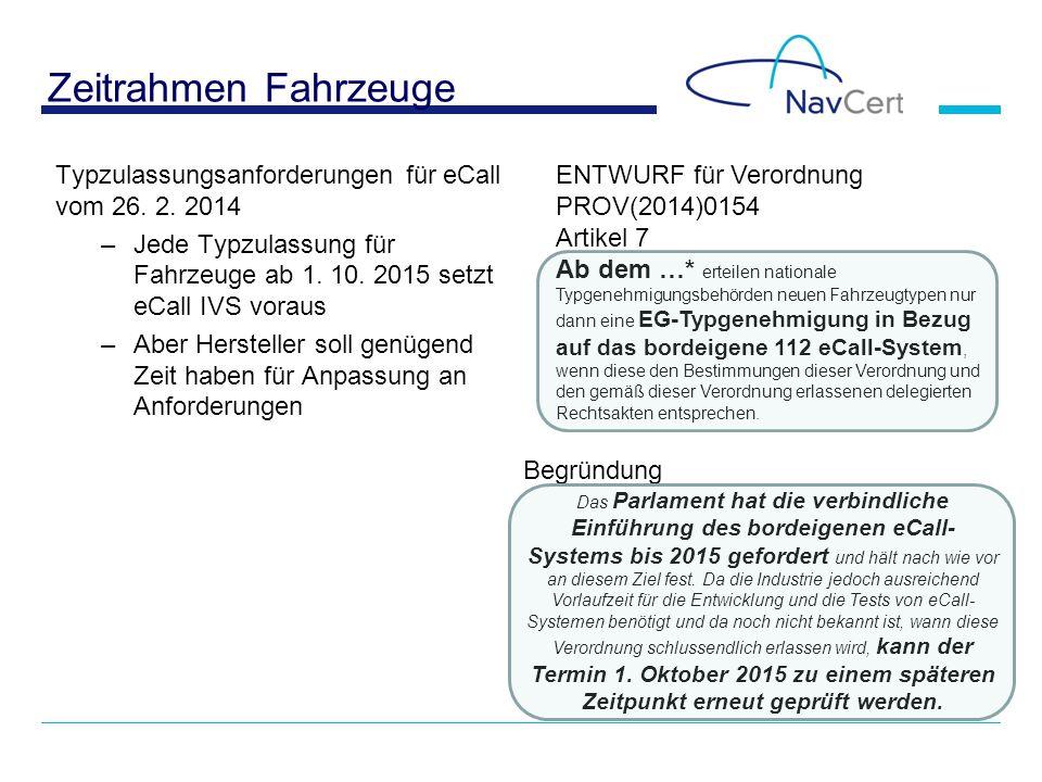 Zeitrahmen Fahrzeuge Typzulassungsanforderungen für eCall vom 26. 2. 2014 –Jede Typzulassung für Fahrzeuge ab 1. 10. 2015 setzt eCall IVS voraus –Aber
