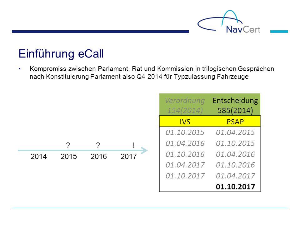 Einführung eCall Kompromiss zwischen Parlament, Rat und Kommission in trilogischen Gesprächen nach Konstituierung Parlament also Q4 2014 für Typzulassung Fahrzeuge 2014201520162017 ?.