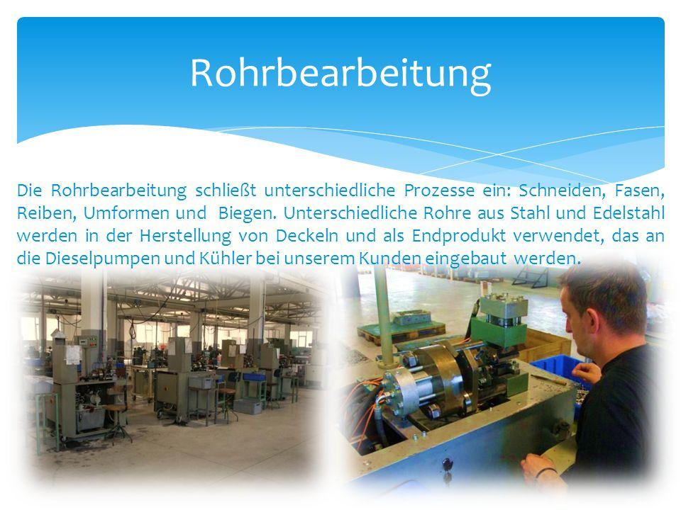 Rohrbearbeitung Die Rohrbearbeitung schließt unterschiedliche Prozesse ein: Schneiden, Fasen, Reiben, Umformen und Biegen. Unterschiedliche Rohre aus