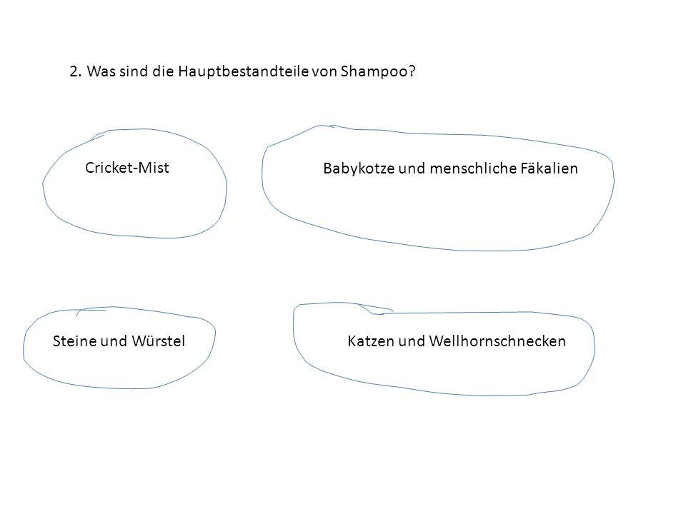 2. Was sind die Hauptbestandteile von Shampoo? Cricket-Mist Babykotze und menschliche Fäkalien Steine und WürstelKatzen und Wellhornschnecken