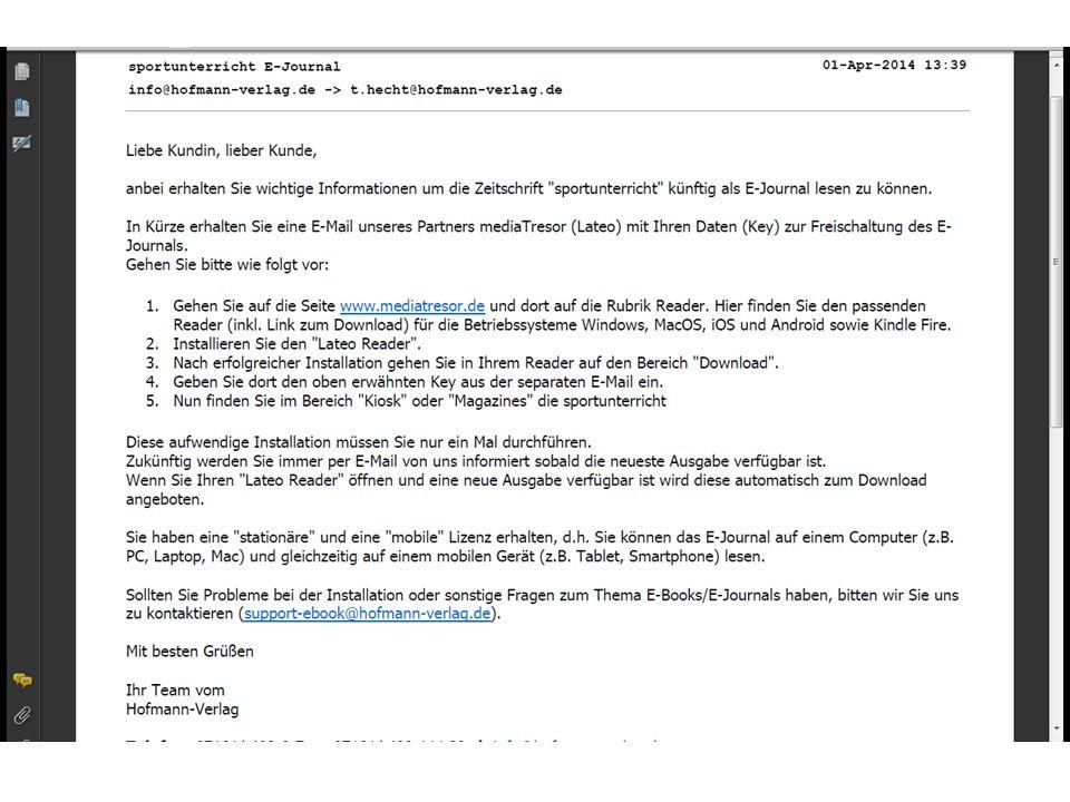 1.Gehen Sie auf die Seite www.mediatresor.de und dort auf die Rubrik Reader.