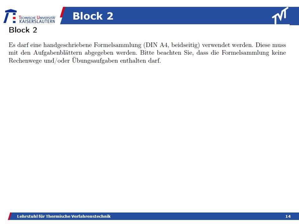 Block 2 Lehrstuhl für Thermische Verfahrenstechnik14