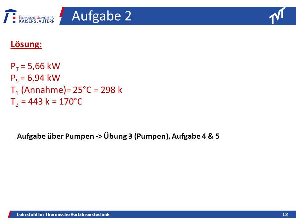 Lehrstuhl für Thermische Verfahrenstechnik18 Aufgabe 2 Lösung: P T = 5,66 kW P S = 6,94 kW T 1 (Annahme)= 25°C = 298 k T 2 = 443 k = 170°C Aufgabe über Pumpen -> Übung 3 (Pumpen), Aufgabe 4 & 5