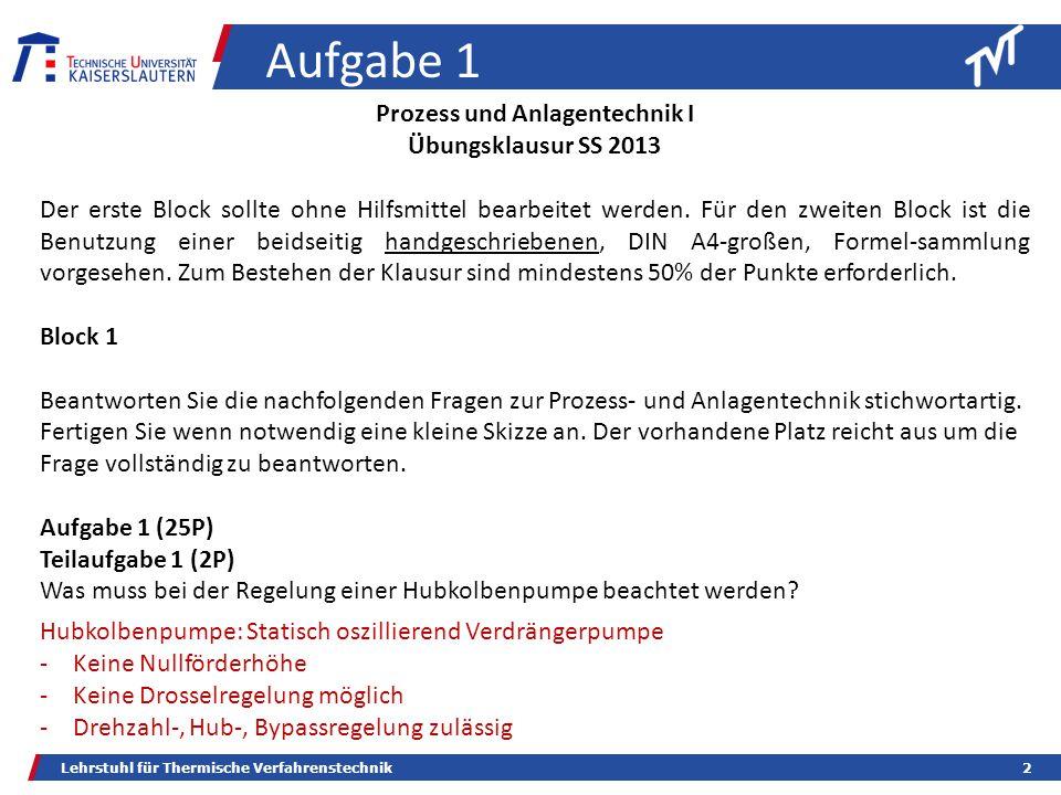 Lehrstuhl für Thermische Verfahrenstechnik2 Aufgabe 1 Prozess und Anlagentechnik I Übungsklausur SS 2013 Der erste Block sollte ohne Hilfsmittel bearbeitet werden.