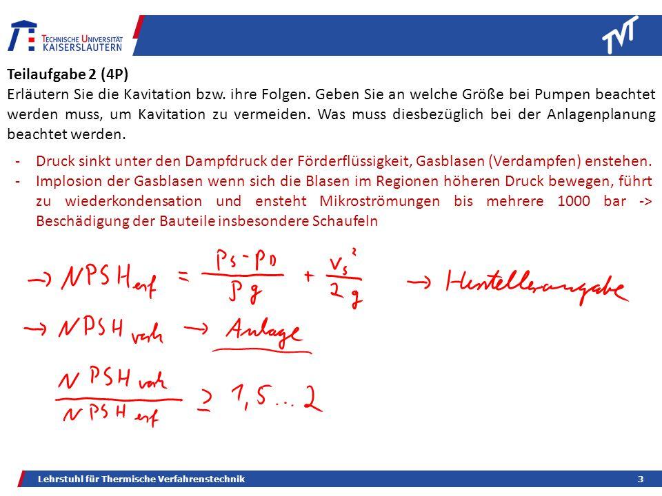 Lehrstuhl für Thermische Verfahrenstechnik3 Teilaufgabe 2 (4P) Erläutern Sie die Kavitation bzw.