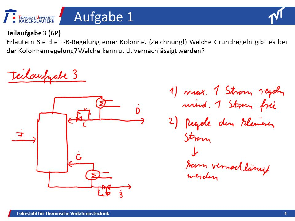 Lehrstuhl für Thermische Verfahrenstechnik4 Aufgabe 1 Teilaufgabe 3 (6P) Erläutern Sie die L-B-Regelung einer Kolonne.