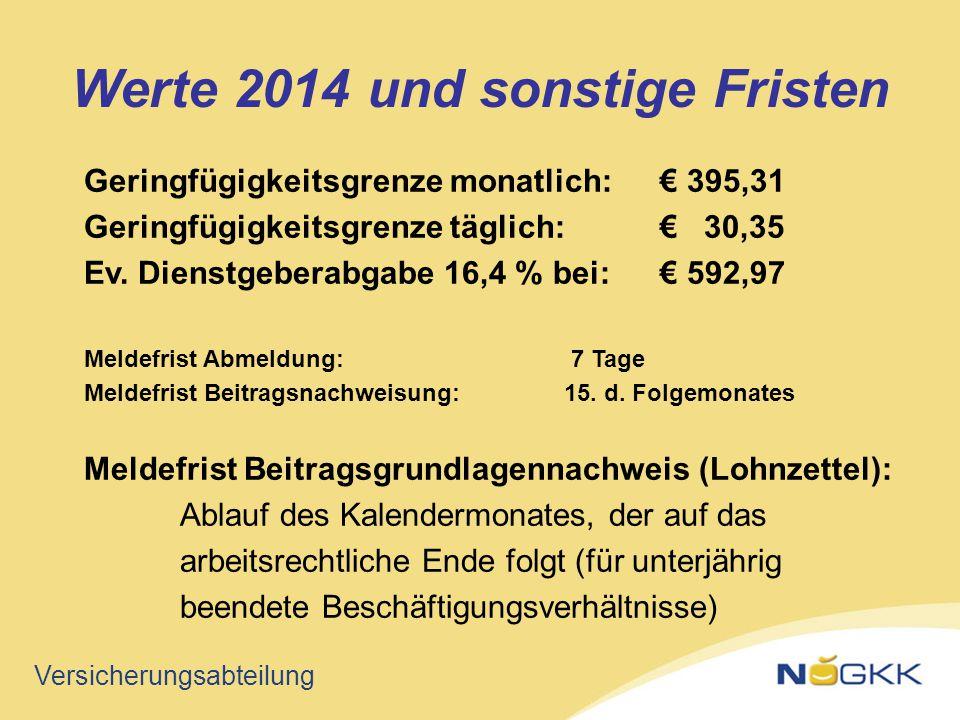 Versicherungsabteilung Geringfügigkeitsgrenze monatlich:€ 395,31 Geringfügigkeitsgrenze täglich:€ 30,35 Ev. Dienstgeberabgabe 16,4 % bei:€ 592,97 Meld