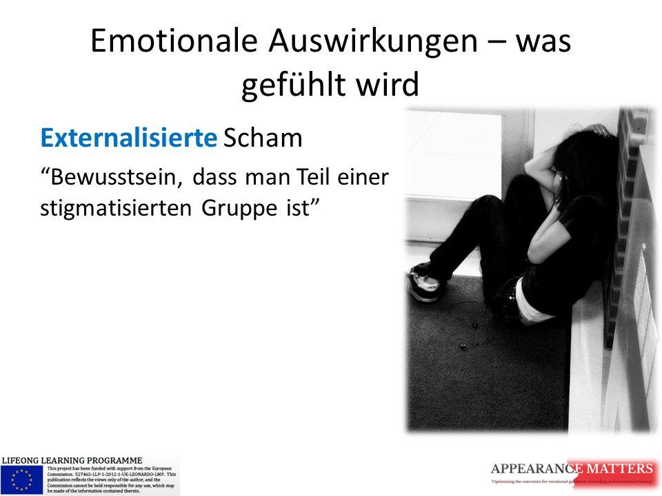 Emotionale Auswirkungen – was gefühlt wird Externalisierte Scham Bewusstsein, dass man Teil einer stigmatisierten Gruppe ist