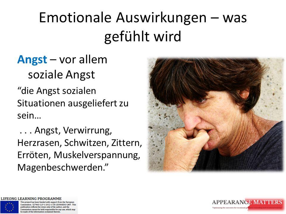 Emotionale Auswirkungen –was gefühlt wird Depression Traurigkeit, Verlust von Interesse/n oder Genüssen, Schuldgefühle oder geringes Selbstwertgefühl, Schlaf- oder Essstörrungen und Konzentrationsschwäche/n. Häufiger bei Problemen mit Gewicht/Größe, als bei anderen sichtbaren Unterschieden