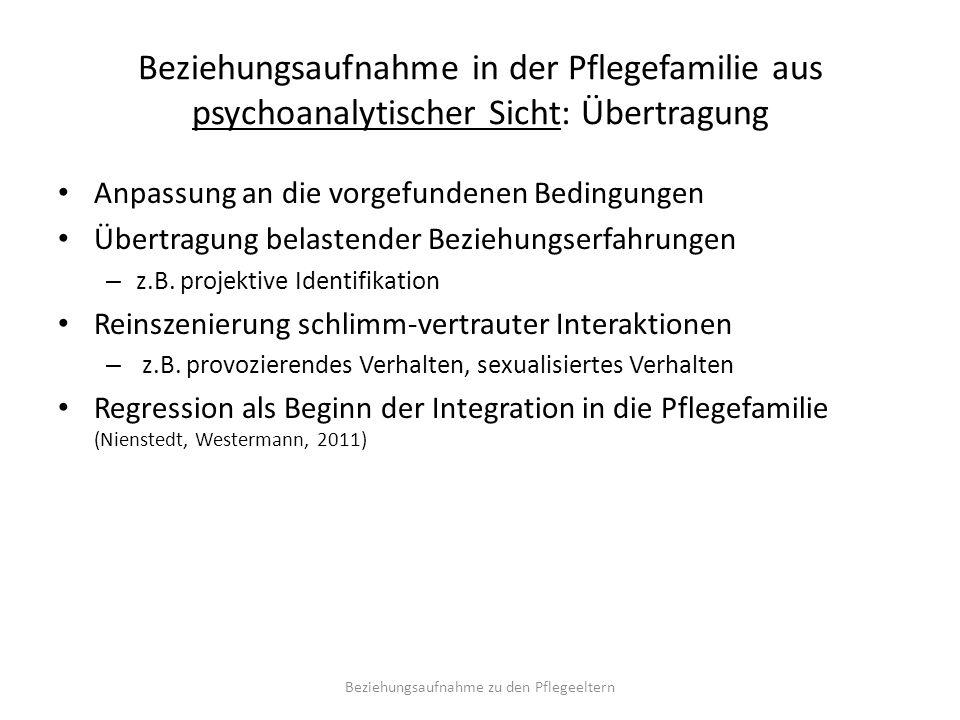 Beziehungsaufnahme in der Pflegefamilie aus psychoanalytischer Sicht: Übertragung Anpassung an die vorgefundenen Bedingungen Übertragung belastender Beziehungserfahrungen – z.B.