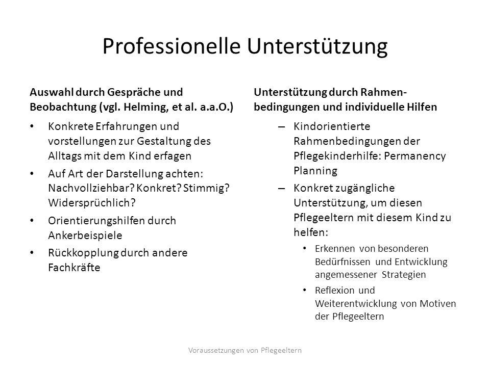 Professionelle Unterstützung Auswahl durch Gespräche und Beobachtung (vgl. Helming, et al. a.a.O.) Konkrete Erfahrungen und vorstellungen zur Gestaltu