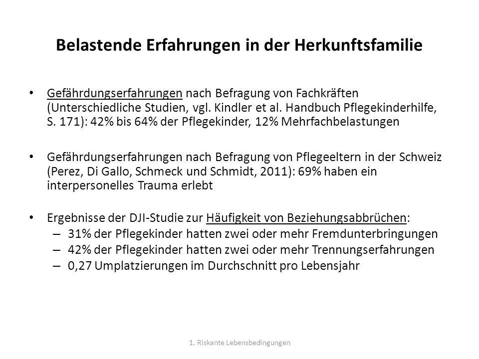 Belastende Erfahrungen in der Herkunftsfamilie Gefährdungserfahrungen nach Befragung von Fachkräften (Unterschiedliche Studien, vgl.