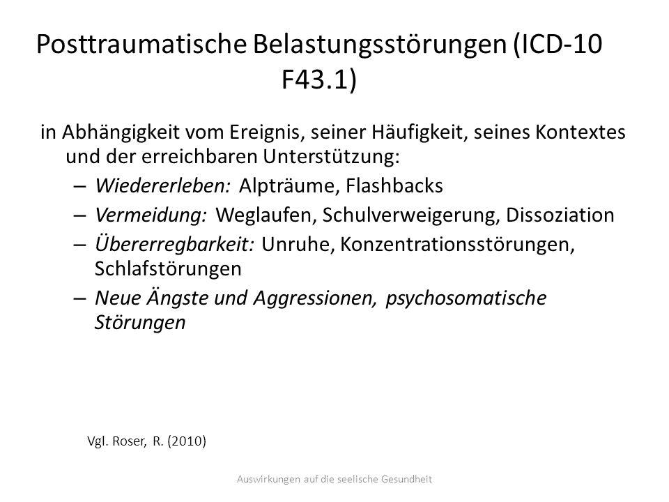 Posttraumatische Belastungsstörungen (ICD-10 F43.1) in Abhängigkeit vom Ereignis, seiner Häufigkeit, seines Kontextes und der erreichbaren Unterstützu