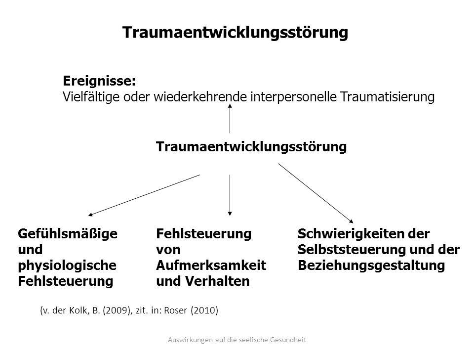 Traumaentwicklungsstörung Ereignisse: Vielfältige oder wiederkehrende interpersonelle Traumatisierung Fehlsteuerung von Aufmerksamkeit und Verhalten G