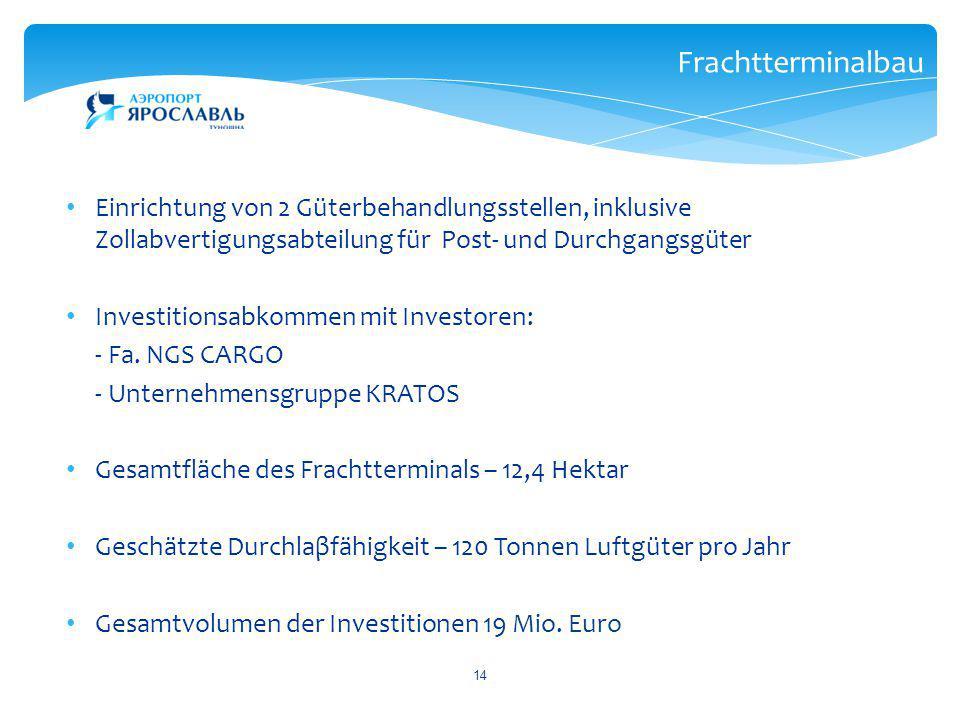 14 Frachtterminalbau Einrichtung von 2 Güterbehandlungsstellen, inklusive Zollabvertigungsabteilung für Post- und Durchgangsgüter Investitionsabkommen