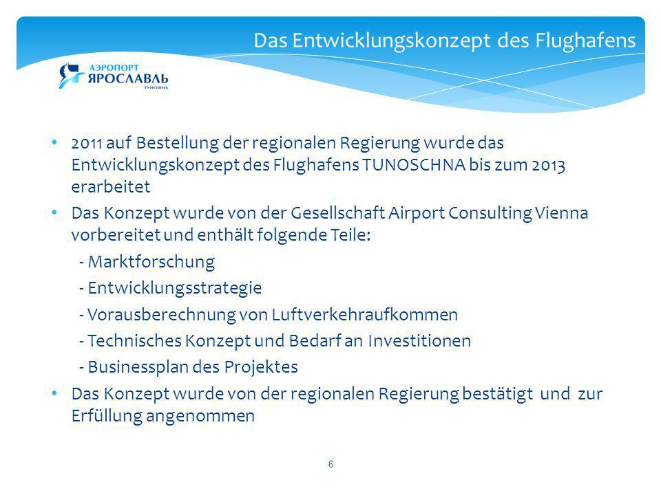 6 Das Entwicklungskonzept des Flughafens 2011 auf Bestellung der regionalen Regierung wurde das Entwicklungskonzept des Flughafens TUNOSCHNA bis zum 2