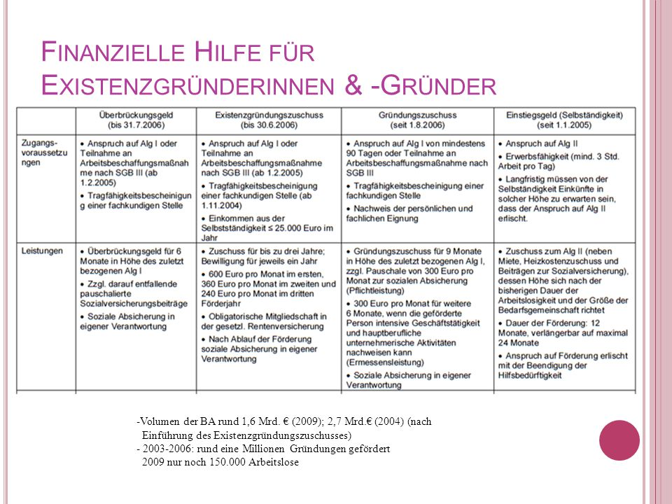 F INANZIELLE H ILFE FÜR E XISTENZGRÜNDERINNEN & -G RÜNDER -Volumen der BA rund 1,6 Mrd. € (2009); 2,7 Mrd.€ (2004) (nach Einführung des Existenzgründu
