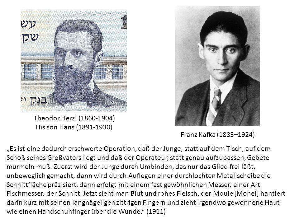 """Theodor Herzl (1860-1904) His son Hans (1891-1930) """"Es ist eine dadurch erschwerte Operation, daß der Junge, statt auf dem Tisch, auf dem Schoß seines"""