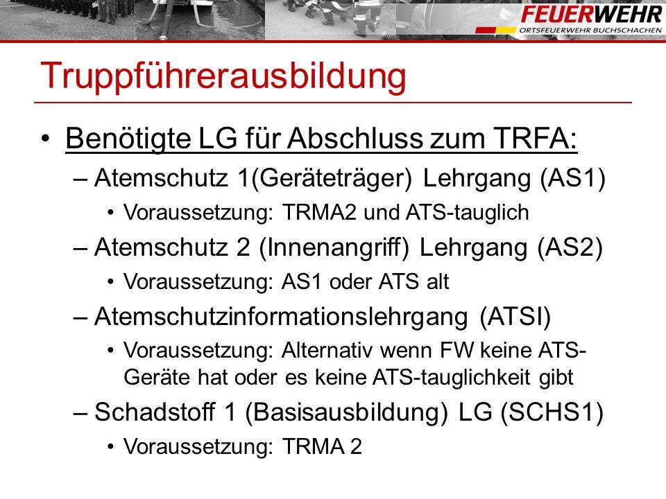 Truppführerausbildung Benötigte LG für Abschluss zum TRFA: –Atemschutz 1(Geräteträger) Lehrgang (AS1) Voraussetzung: TRMA2 und ATS-tauglich –Atemschutz 2 (Innenangriff) Lehrgang (AS2) Voraussetzung: AS1 oder ATS alt –Atemschutzinformationslehrgang (ATSI) Voraussetzung: Alternativ wenn FW keine ATS- Geräte hat oder es keine ATS-tauglichkeit gibt –Schadstoff 1 (Basisausbildung) LG (SCHS1) Voraussetzung: TRMA 2