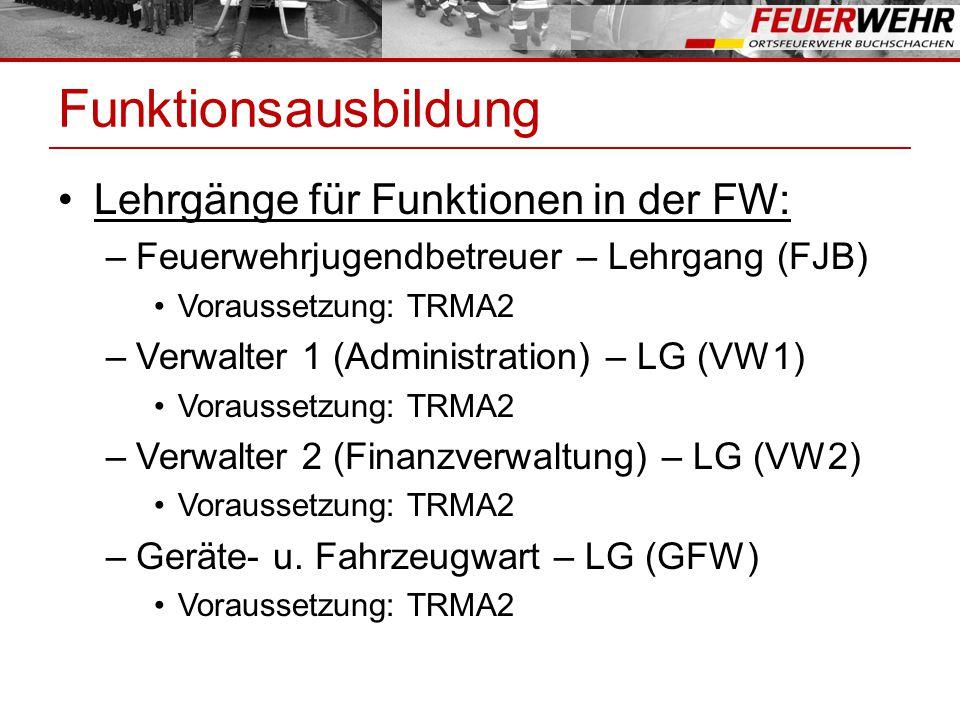 Funktionsausbildung Lehrgänge für Funktionen in der FW: –Feuerwehrjugendbetreuer – Lehrgang (FJB) Voraussetzung: TRMA2 –Verwalter 1 (Administration) – LG (VW1) Voraussetzung: TRMA2 –Verwalter 2 (Finanzverwaltung) – LG (VW2) Voraussetzung: TRMA2 –Geräte- u.