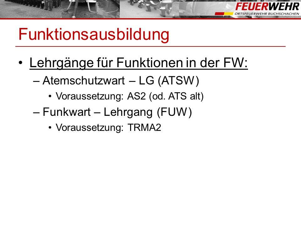 Funktionsausbildung Lehrgänge für Funktionen in der FW: –Atemschutzwart – LG (ATSW) Voraussetzung: AS2 (od.