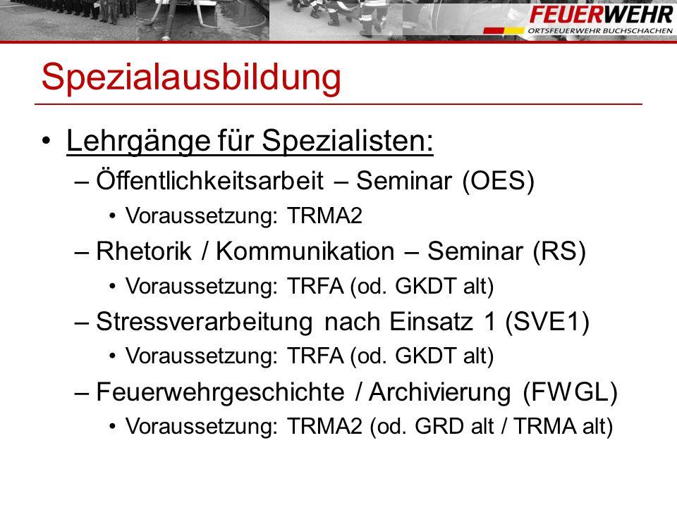 Spezialausbildung Lehrgänge für Spezialisten: –Öffentlichkeitsarbeit – Seminar (OES) Voraussetzung: TRMA2 –Rhetorik / Kommunikation – Seminar (RS) Voraussetzung: TRFA (od.