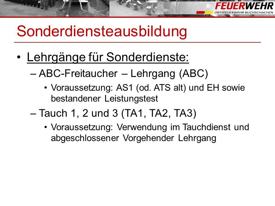 Sonderdiensteausbildung Lehrgänge für Sonderdienste: –ABC-Freitaucher – Lehrgang (ABC) Voraussetzung: AS1 (od.