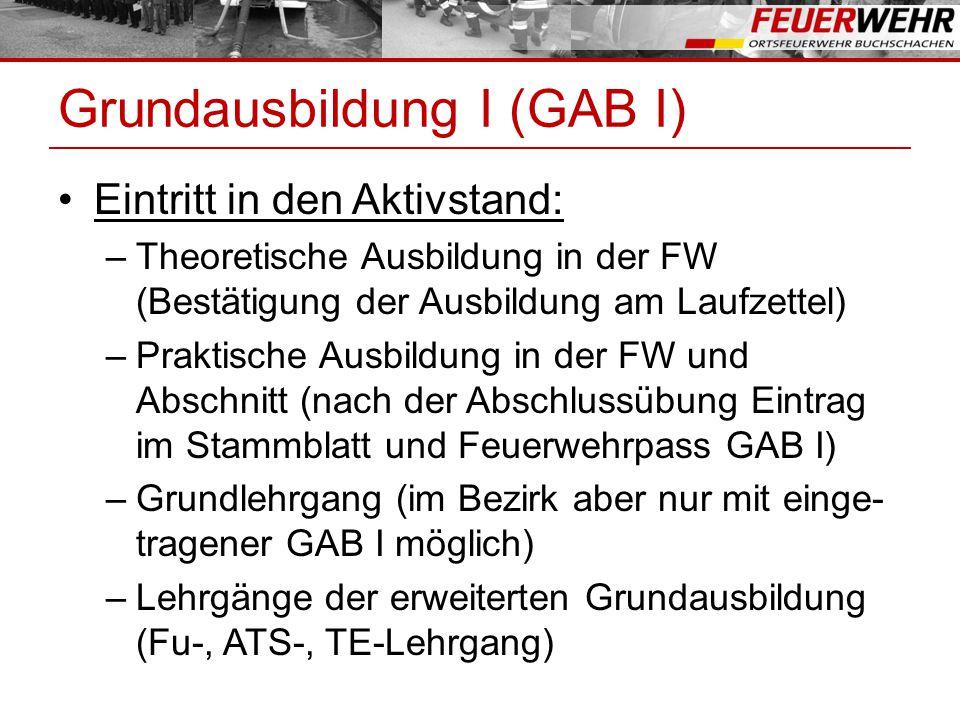 Grundausbildung I (GAB I) Übertritt FWJ in Aktivstand: –Abschluss Wissenstest Stufe IV –Abschlussübung in der FW (danach Eintrag im Stammblatt / FW-Pass GAB I) –Grundlehrgang (im Bezirk aber nur mit einge- tragener GAB I möglich) –Lehrgänge der erweiterten Grundausbildung (FU-, ATS-, TE-Lehrgang)