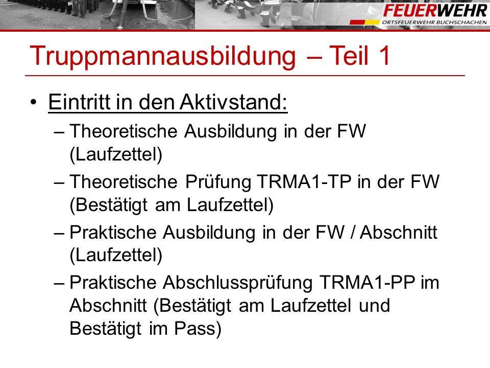 Truppmannausbildung – Teil 1 Eintritt in den Aktivstand: –Theoretische Ausbildung in der FW (Laufzettel) –Theoretische Prüfung TRMA1-TP in der FW (Bestätigt am Laufzettel) –Praktische Ausbildung in der FW / Abschnitt (Laufzettel) –Praktische Abschlussprüfung TRMA1-PP im Abschnitt (Bestätigt am Laufzettel und Bestätigt im Pass)