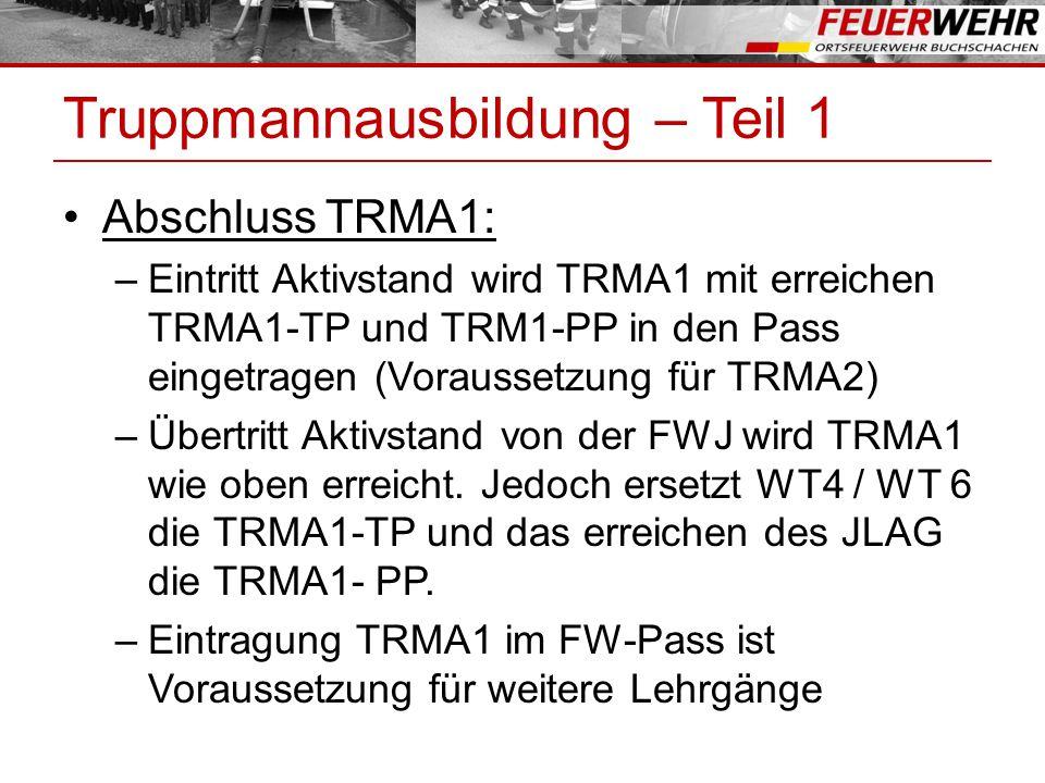 Spezialausbildung Lehrgänge für Spezialisten: –Erste-Hilfe Lehrgang (EH) Voraussetzung: keine –Sichern und Retten – Lehrgang (SR) Voraussetzung: TRMA2 –Technik 2 (Verkehrsunfall) Lehrgang (TE2) Voraussetzung: TRMA2 –Technik 3 (Verkehrsunfall) Lehrgang (TE3) Voraussetzung: TRMA2