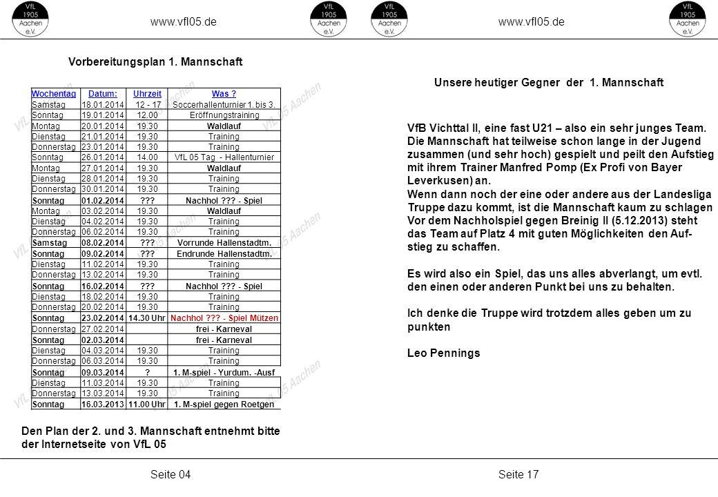 www.vfl05.de Seite 17Seite 04 Unsere heutiger Gegner der 1. Mannschaft VfB Vichttal II, eine fast U21 – also ein sehr junges Team. Die Mannschaft hat