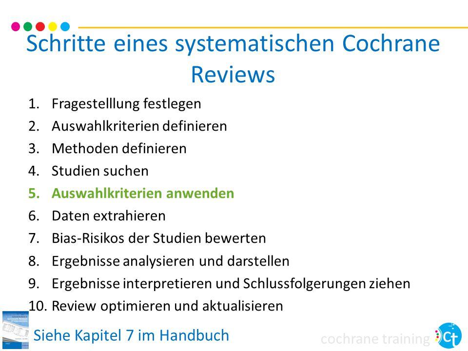 cochrane training Schritte eines systematischen Cochrane Reviews 1.Fragestelllung festlegen 2.Auswahlkriterien definieren 3.Methoden definieren 4.Stud