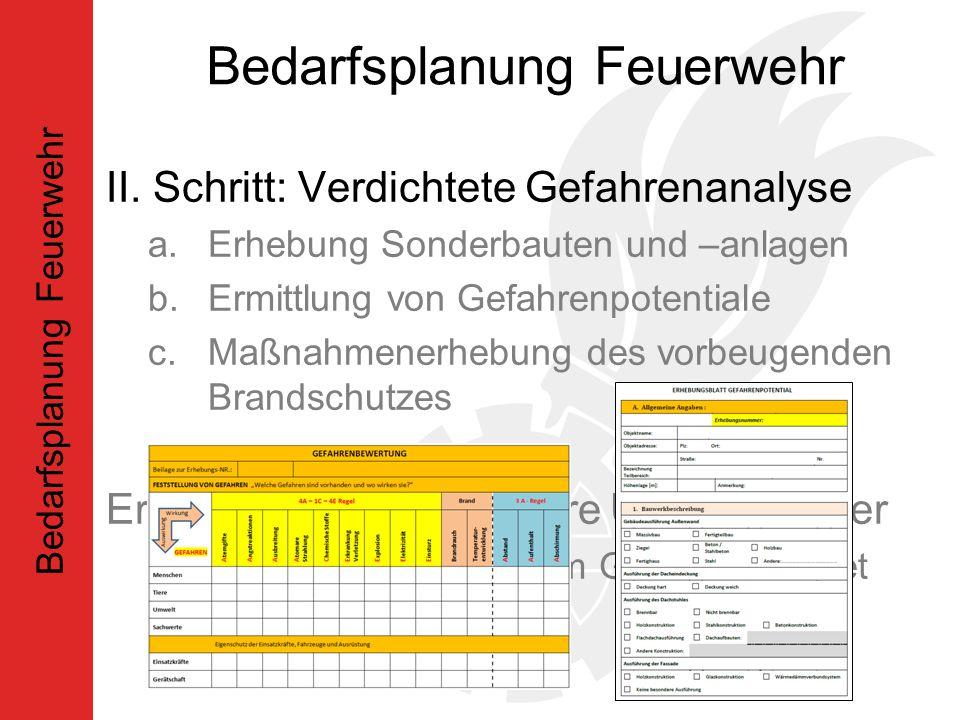 II. Schritt: Verdichtete Gefahrenanalyse a.Erhebung Sonderbauten und –anlagen b.Ermittlung von Gefahrenpotentiale c.Maßnahmenerhebung des vorbeugenden