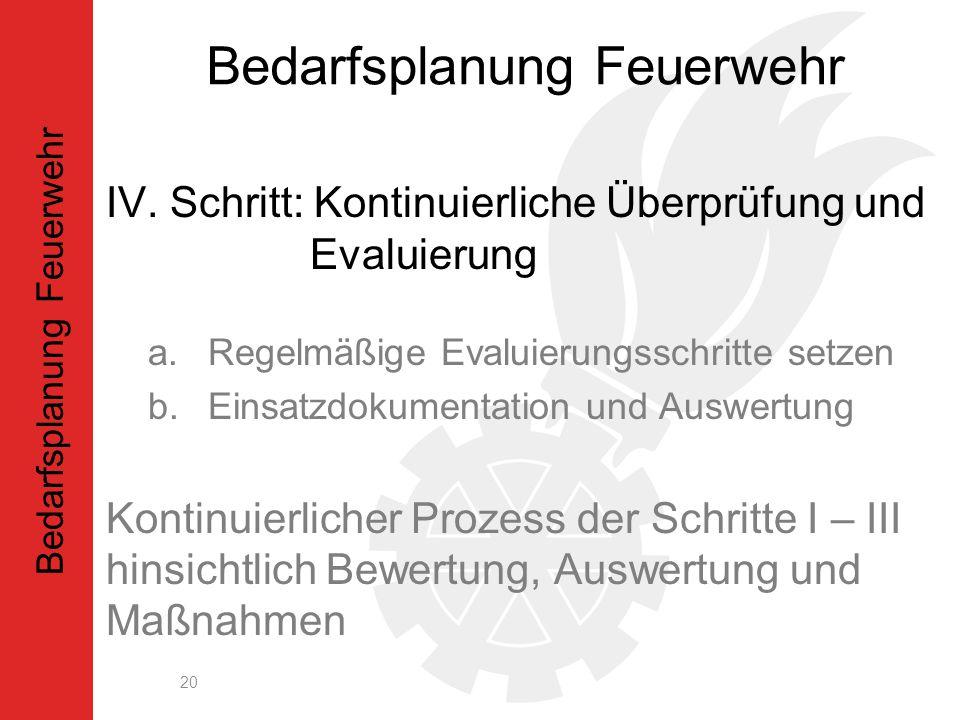 IV. Schritt: Kontinuierliche Überprüfung und Evaluierung a.Regelmäßige Evaluierungsschritte setzen b.Einsatzdokumentation und Auswertung Kontinuierlic