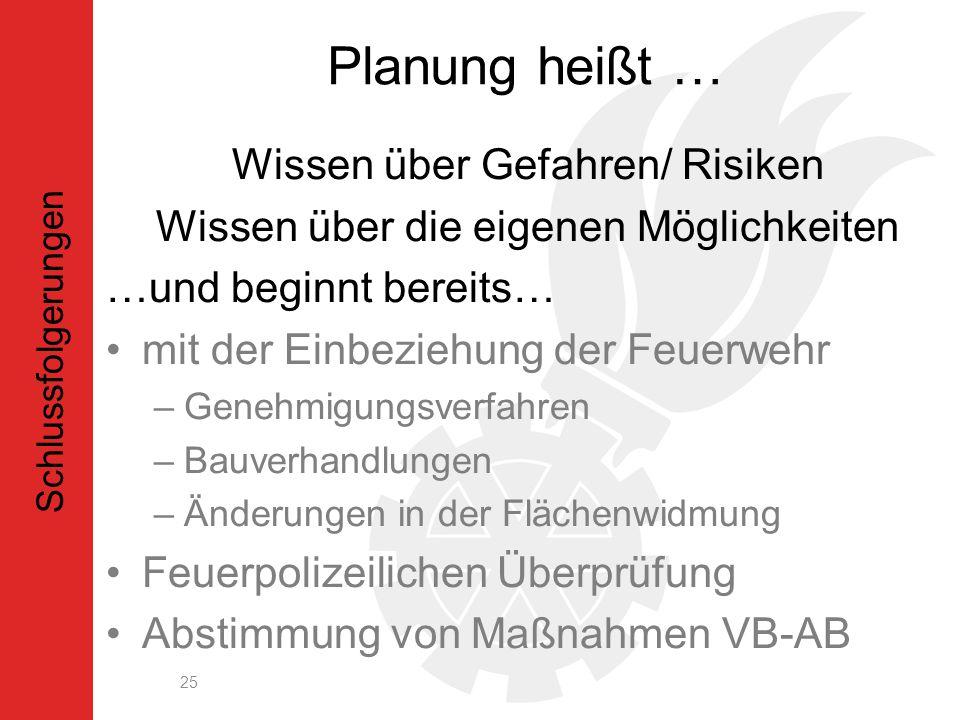 Planung heißt … Wissen über Gefahren/ Risiken Wissen über die eigenen Möglichkeiten …und beginnt bereits… mit der Einbeziehung der Feuerwehr –Genehmigungsverfahren –Bauverhandlungen –Änderungen in der Flächenwidmung Feuerpolizeilichen Überprüfung Abstimmung von Maßnahmen VB-AB 25 Schlussfolgerungen