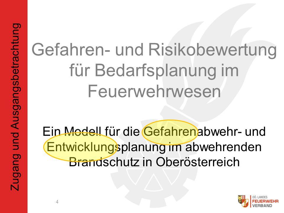 Ein Modell für die Gefahrenabwehr- und Entwicklungsplanung im abwehrenden Brandschutz in Oberösterreich 4 Gefahren- und Risikobewertung für Bedarfsplanung im Feuerwehrwesen Zugang und Ausgangsbetrachtung