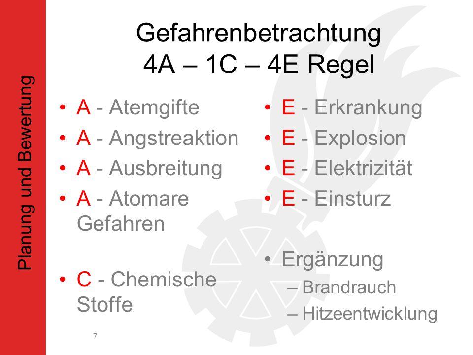 Gefahrenbetrachtung 4A – 1C – 4E Regel A - Atemgifte A - Angstreaktion A - Ausbreitung A - Atomare Gefahren C - Chemische Stoffe E - Erkrankung E - Explosion E - Elektrizität E - Einsturz Ergänzung –Brandrauch –Hitzeentwicklung 7 Planung und Bewertung