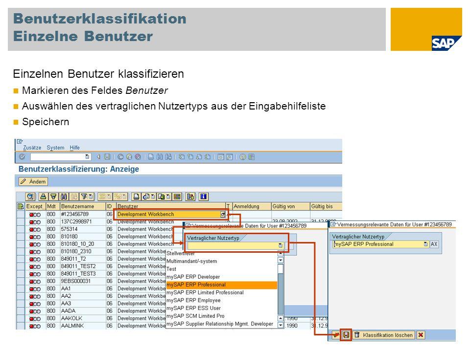 Benutzerklassifikation Einzelne Benutzer Einzelnen Benutzer klassifizieren Markieren des Feldes Benutzer Auswählen des vertraglichen Nutzertyps aus de