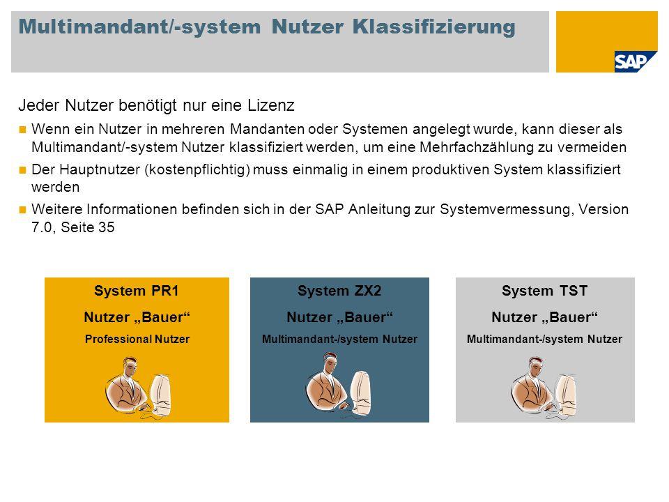Multimandant/-system Nutzer Klassifizierung Jeder Nutzer benötigt nur eine Lizenz Wenn ein Nutzer in mehreren Mandanten oder Systemen angelegt wurde,