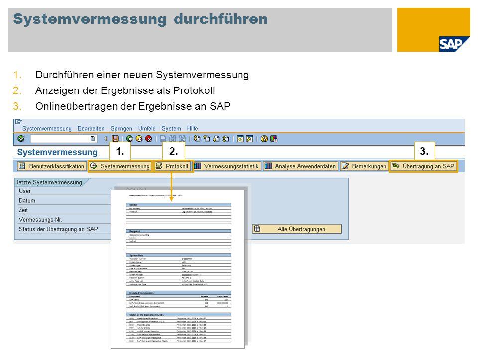 Systemvermessung durchführen 1.Durchführen einer neuen Systemvermessung 2.Anzeigen der Ergebnisse als Protokoll 3.Onlineübertragen der Ergebnisse an S