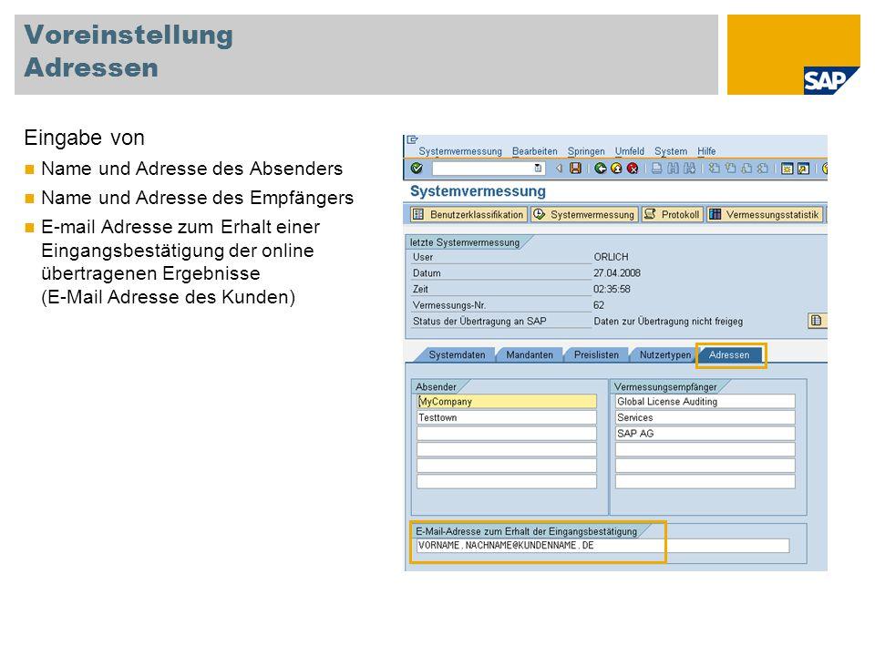 Voreinstellung Adressen Eingabe von Name und Adresse des Absenders Name und Adresse des Empfängers E-mail Adresse zum Erhalt einer Eingangsbestätigung