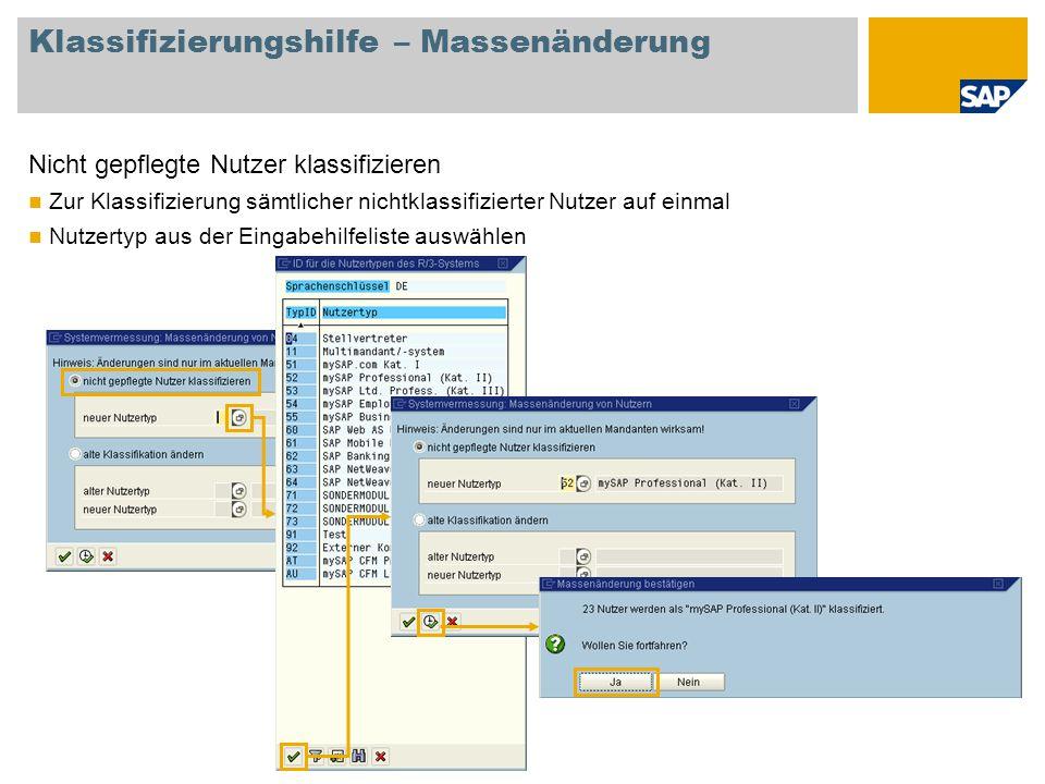 Klassifizierungshilfe – Massenänderung Nicht gepflegte Nutzer klassifizieren Zur Klassifizierung sämtlicher nichtklassifizierter Nutzer auf einmal Nut