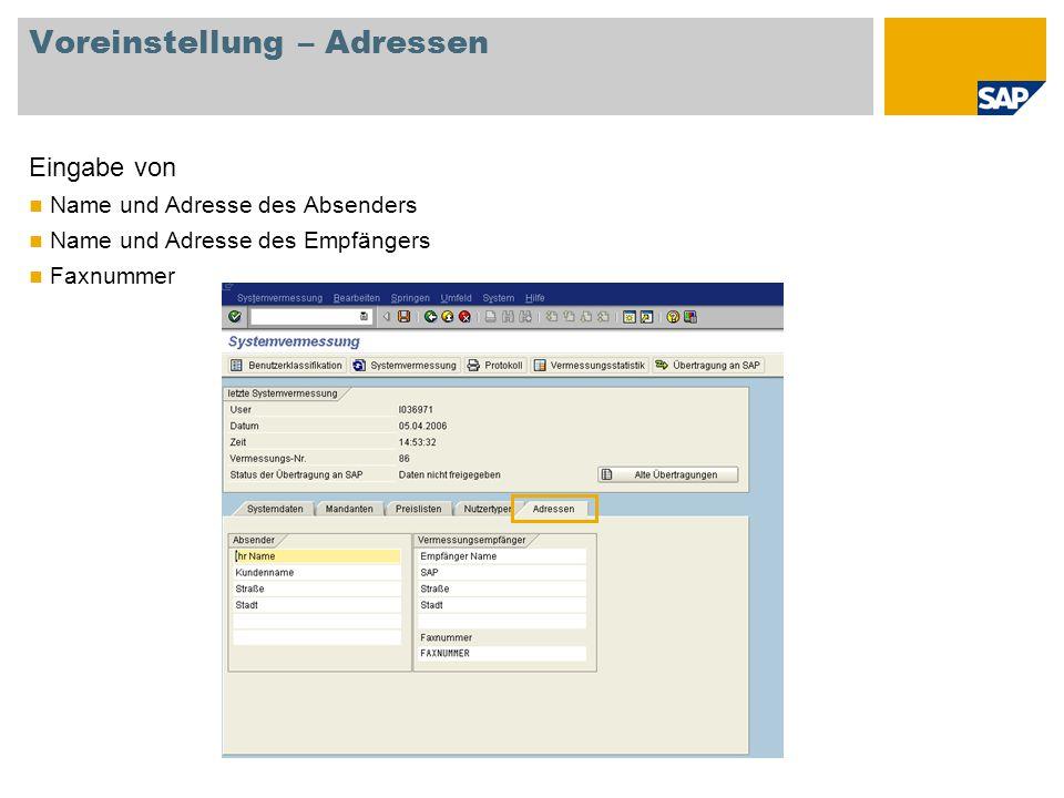 Voreinstellung – Adressen Eingabe von Name und Adresse des Absenders Name und Adresse des Empfängers Faxnummer